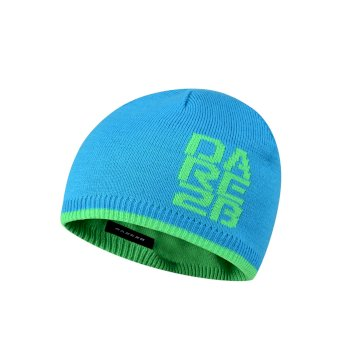 bd4487a3 Kids Thick Cuff Reversible Beanie Hat Fluro Blue