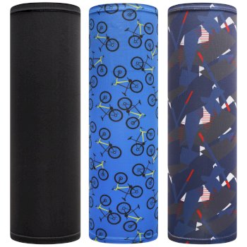 Kids' Sports Multitube Scarf Mask Athletic Blue Bike Black Nightfall Navy Geometric
