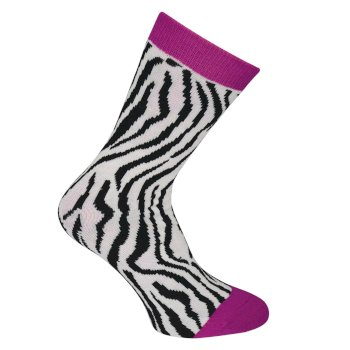 Kids Footloose III Ski Socks Cyber Pink Animal Print