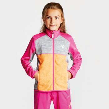 Kids' Exceed Core Stretch Midlayer Cyber Pink Gravity Grey