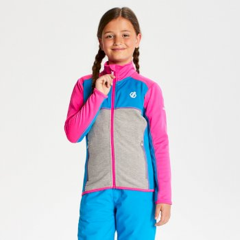 Kids' Exceed Core Stretch Midlayer Cyber Pink Atlantic Blue