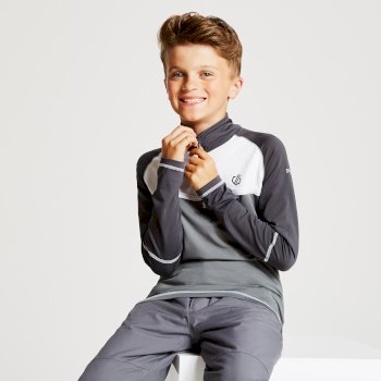 Kids' Formate Core Stretch Half Zip Midlayer Aluminium Grey Ebony