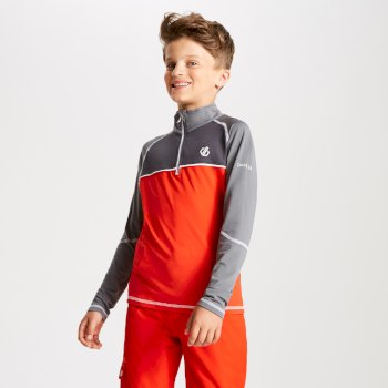 Kids' Formate Core Stretch Half Zip Midlayer Fiery Red Aluminium Grey