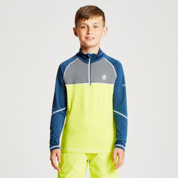 Kids' Formate Core Stretch Half Zip Midlayer Citron Lime Admiral Blue