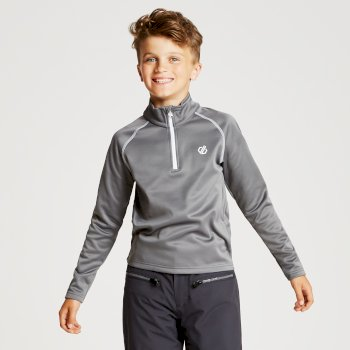 Kids' Consist Core Stretch Half Zip Midlayer Aluminium Grey