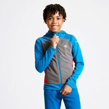 Kids' Twofold Hooded Core Stretch Midlayer Petrol Blue Aluminium Grey