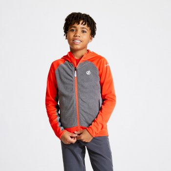 Kids' Twofold Hooded Core Stretch Midlayer Trail Blaze Red Ebony Grey