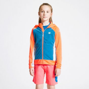 Kids' Twofold Hooded Core Stretch Midlayer Fiery Coral Petrol Blue