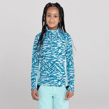 Kids' Commit Lightweight Core Stretch Midlayer Dark Methyl Zebra Print Aruba Blue