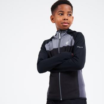 Sous-Couche À Capuche Junior Stretch ExtensibLe Et Légère HASTY Avec Ouverture Zippée Noir