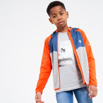 Kids' Hasty Full Zip Hooded Lightweight Core Stretch Midlayer Blaze Orange Dark Denim