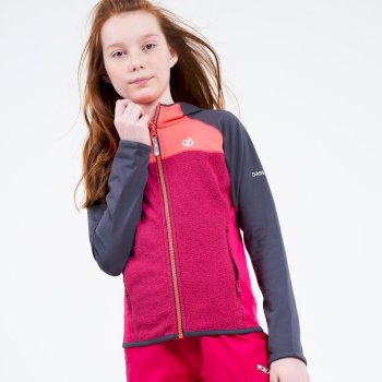 Kids' Hasty Full Zip Hooded Lightweight Core Stretch Midlayer Ebony Grey Neon Pink