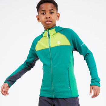 Kids' Hasty Full Zip Hooded Lightweight Core Stretch Midlayer Ultramarine Lime Punch Green