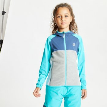 Kids' Hasty Full Zip Hooded Lightweight Core Stretch Midlayer Ceramic Blue Dark Denim