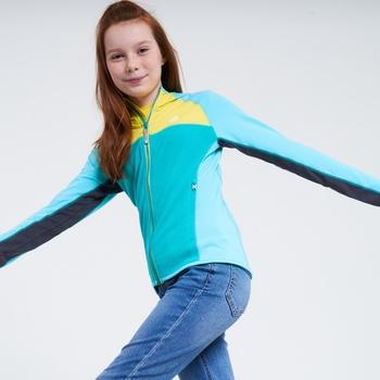 Sous-Couche À Capuche Junior Stretch ExtensibLe Et Légère HASTY Avec Ouverture Zippée Bleu