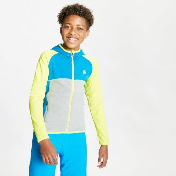 Kids' Hasty Full Zip Hooded Lightweight Core Stretch Midlayer Lime Punch Methyl Blue