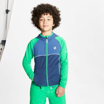 Kids' Hasty Full Zip Hooded Lightweight Core Stretch Midlayer Vivid Green Dark Denim