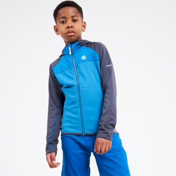 Kids' Hasty Full Zip Hooded Lightweight Core Stretch Midlayer Petrol Blue Ebony Grey