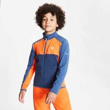 Sous-couche Junior stretch extensible et légère EXCEPT avec ouverture zippée Orange