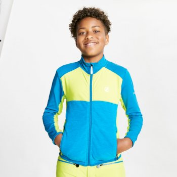 Kids' Except Full Zip Lightweight Core Stretch Midlayer Lime Punch Petrol Blue