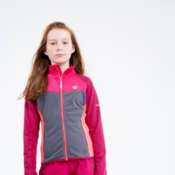 Kids' Except Full Zip Lightweight Core Stretch Midlayer Berry Pink Ebony Grey