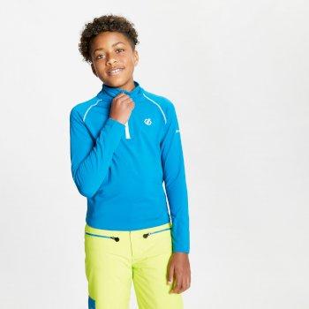 Sous-couche Junior stretch extensible et légère avec ouverture 1/2 zip Bleu