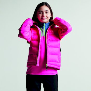 Kids Download Down Fill Hooded Jacket Cyber Pink