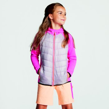 Kids' Diffusion Hybrid Hooded Jacket Cyber Pink Argent Grey