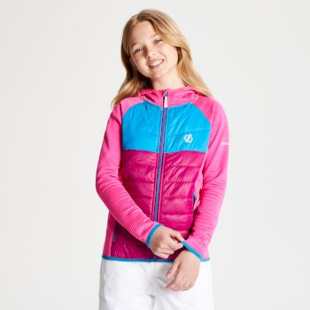 Kids' Infamy Hybrid Insulated Hooded Stretch Midlayer Cyber Pink Fuchsia