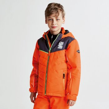 Kids Tusk II Ski Jacket Vibrant Orange Ebony Grey