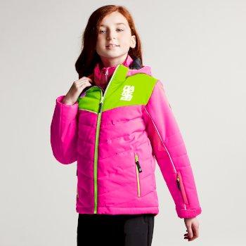 Kids Tusk II Ski Jacket Cyber Pink Neon Green