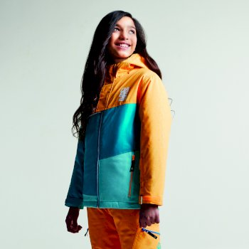 Kids Debut Ski Jacket Orange Burst Texture Sea Breeze Blue