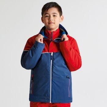 Kids Debut Ski Jacket Code Red Texture Admiral Blue