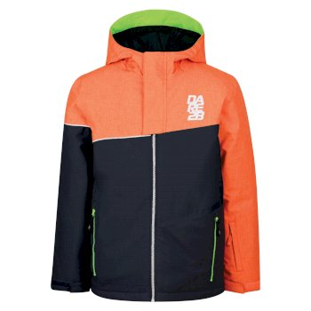 Kids Debut Ski Jacket Vibrant Orange Texture Ebony Grey c5a55ba97