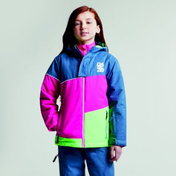 Kids Debut Ski Jacket Astronomy Blue Texture Cyber Pink Neon Green