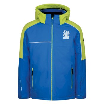 Kids Labyrinth Ski Jacket Athletic Blue Electric Lime