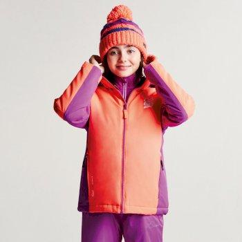 Kids Quell Ski Jacket Fiery Coral Ultra Violet Purple