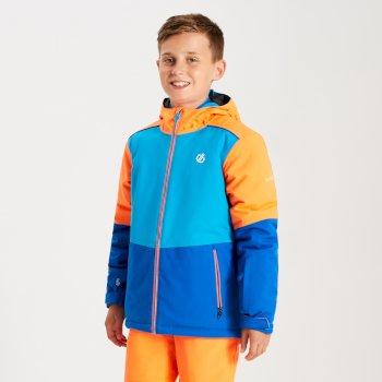 Kids' Aviate Ski Jacket Oxford Blue Atlantic Blue Vibrant Orange