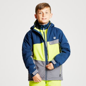 Kids' Wrest Ski Jacket Aluminium Grey Citron Lime Admiral Blue