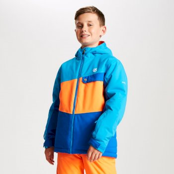 Kids' Wrest Ski Jacket Oxford Blue Vibrant Orange