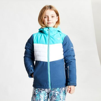 Kids' Freeze Up Waterproof Insulated Hooded Ski Jacket Ceramic Blue White