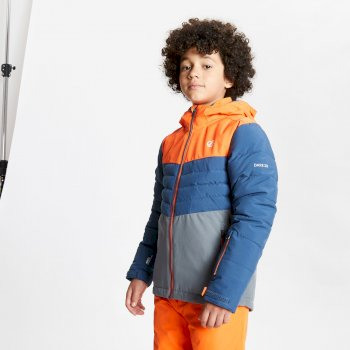 Kids' Freeze Up Waterproof Insulated Hooded Ski Jacket Blaze Orange Dark Denim