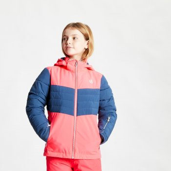Kids' Freeze Up Waterproof Insulated Hooded Ski Jacket Neon Pink Dark Denim