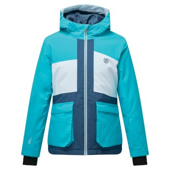 Kids' Esteem Waterproof Insulated Hooded Ski Jacket Ceramic Blue White