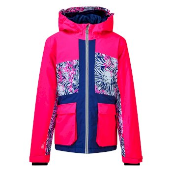 Kids' Esteem Waterproof Insulated Hooded Ski Jacket Neon Pink
