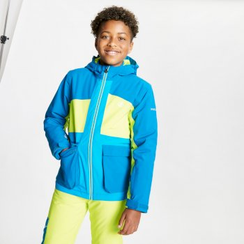 Kids' Esteem Waterproof Insulated Hooded Ski Jacket Petrol Blue Lime Punch