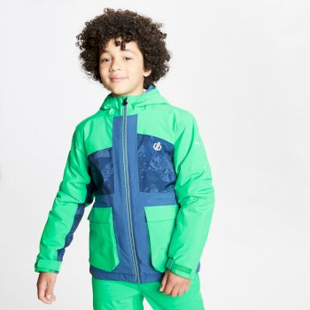 Kids' Esteem Waterproof Insulated Hooded Ski Jacket Vivid Green Dark Denim