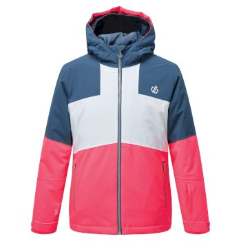 Kids Cavalier Waterproof Insulated Hooded Ski Jacket Neon Pink Dark Denim