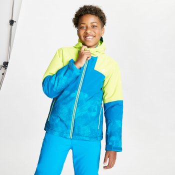 Kids Cavalier Waterproof Insulated Hooded Ski Jacket Lime Punch Petrol Blue