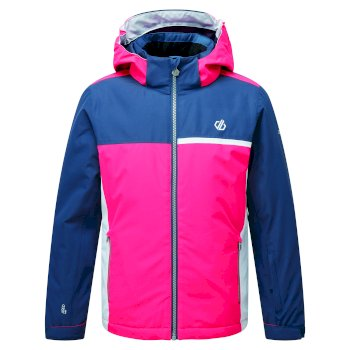 Kids' Depend Waterproof Insulated Hooded Ski Jacket Dark Denim Neon Pink